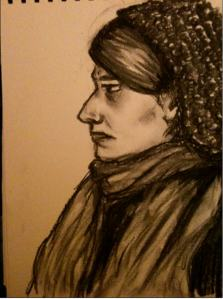 Lynsey May self portrait charcoal