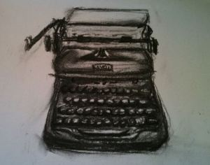 A charcoal picture of a typewriter by Lynsey May