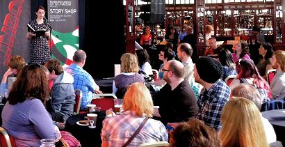 Lynsey May reading at Story Shop at Edinburgh Book Festival